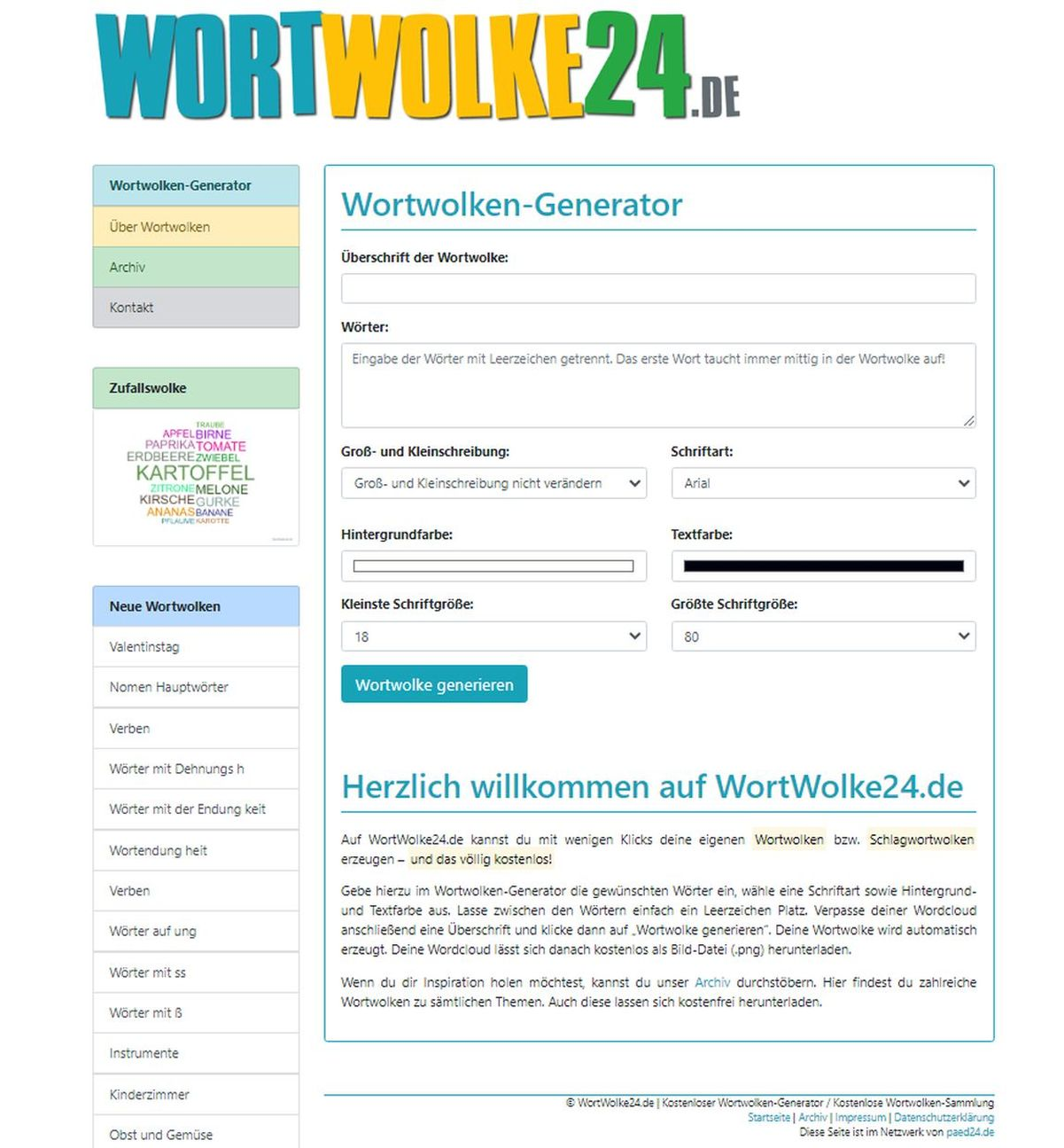 die Oberfläche der WortWolke | Freie-Pressemitteilungen.de
